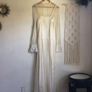 Vintage sheer lace high collar dress.